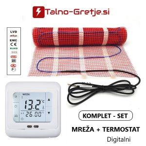 električno talno gretje komplet mreža in termostat digitalni